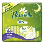 Naturella Ultra Camomile Night with wings(Нат.Ультра Кэм.Найт с крыл.) Аром.жен.гигиен.прокл. 14 шт