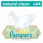 PAMPERS Natural Clean Детские влажные салфетки 64 шт