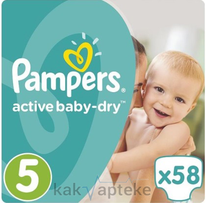 PAMPERS Active Baby-Dry Дет.подгуз. Junior (11-18 кг) 58 шт